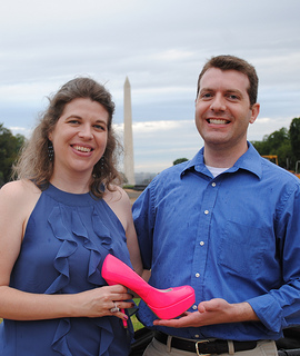Jocelyn Rish and Brian Rish in front of Washington Monument